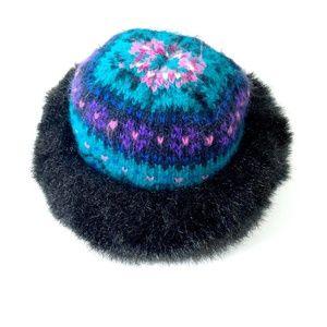 Accessories - Vintage Knit Winter Hat with Faux Fur Trim